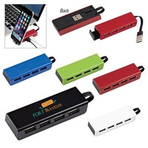 4-Port Traveler USB Hub With Phone Stand